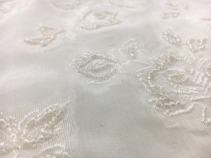 f4a4b9625ae9 REDUCED Beaded Silk Chiffon Jacquard with Flowers | B&J Fabrics