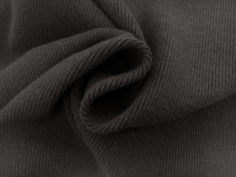 Bamboo Cotton Lycra Rib Knit  in Graphite2