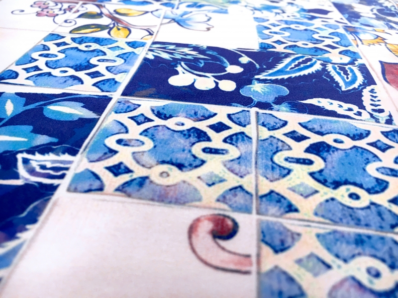 Printed Silk Charmeuse with Ornate Italian Tile Patterns2
