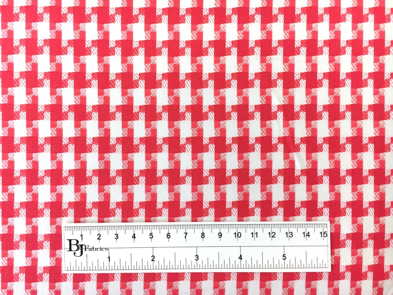 Italian Cotton Houndstooth Shirting in Vermilion3