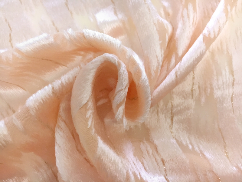 Peach Silk Lurex Burnout Velvet with Abstract Brushstrokes1