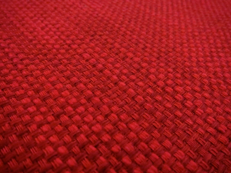 Cotton Blend Basketweave Upholstery in Rose Red2