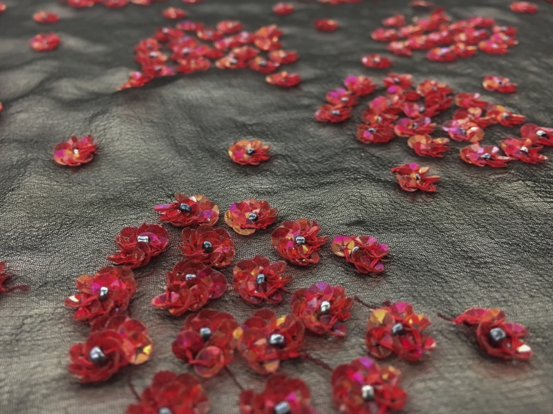 REDUCED Hand Beaded Silk Chiffon with Small Flower Clusters2