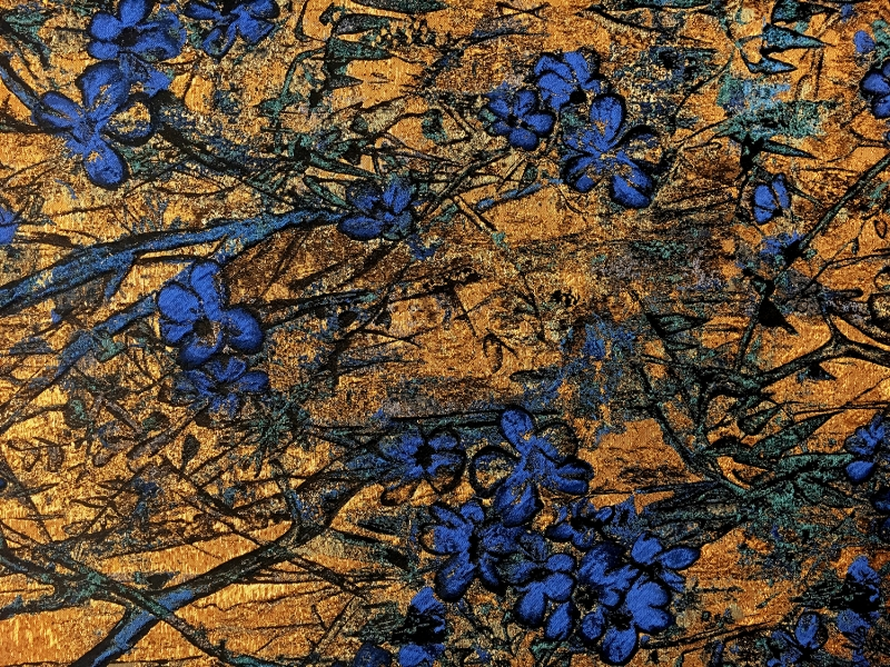 antique gold floral brocade fabric with blue flowers b j fabrics
