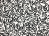 Printed Silk Gazar with Sketched Black and White Leaves0