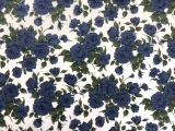 Liberty of London Linen Cotton Blue Roses Print 0